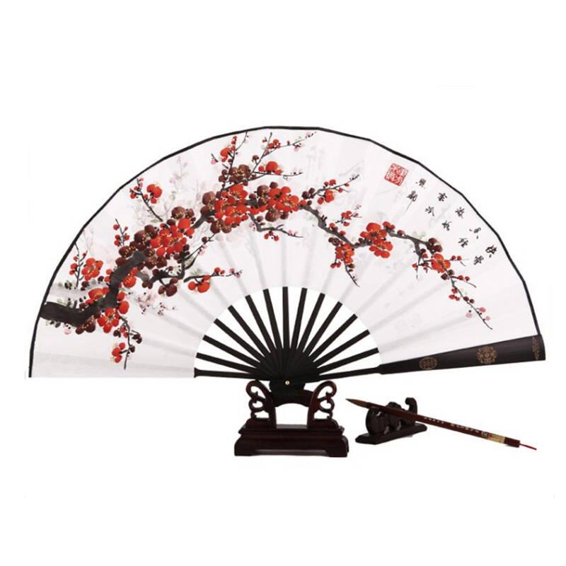 美乐风尚 高档礼品扇子 中国风 手绘梅花 折扇男中国风白纸扇 情人节