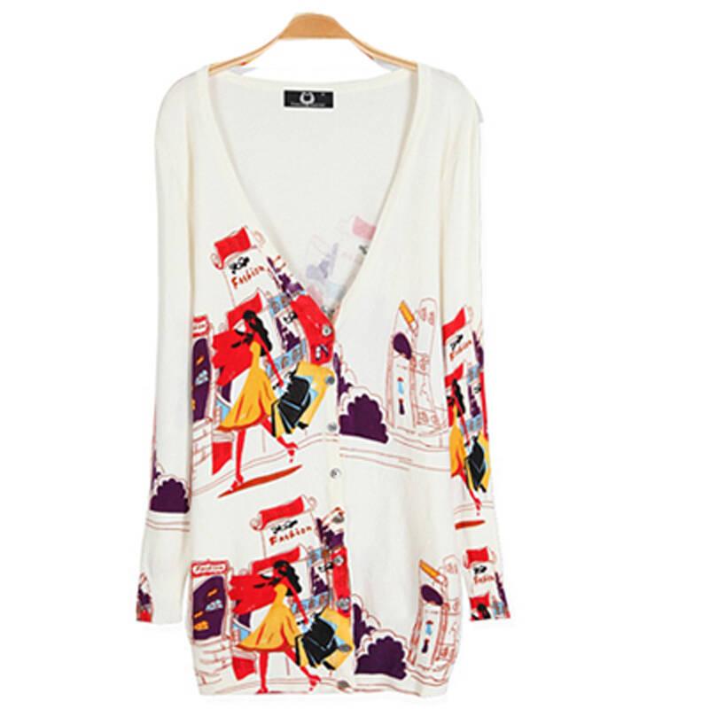 2013秋装新款韩版彩绘印花可爱小兔子大码长袖秋季针织衫开衫女zzs113