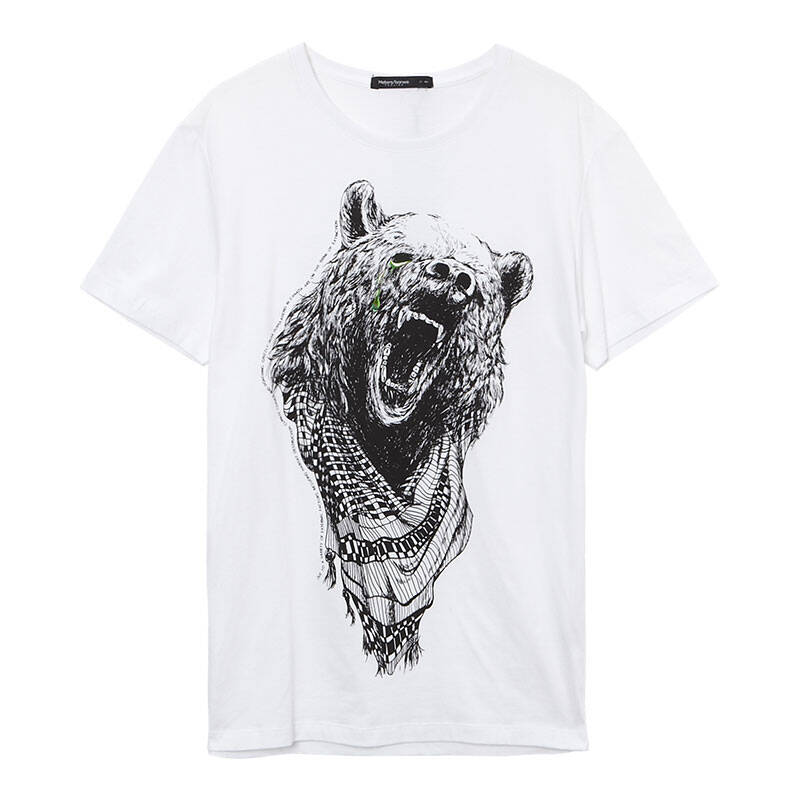 美特斯邦威 2014夏装新款男装手绘动物短袖t恤206261