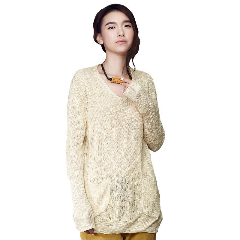 设计师品牌女装森宿 夏洛的网 秋装新款 拼接口袋v领毛衣 2329078图片
