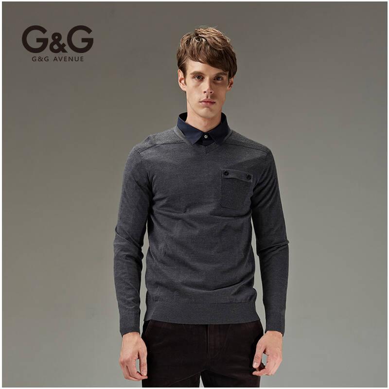 g&g 秋装休闲男士羊毛衫男款潮男针织衫套头修身v领子