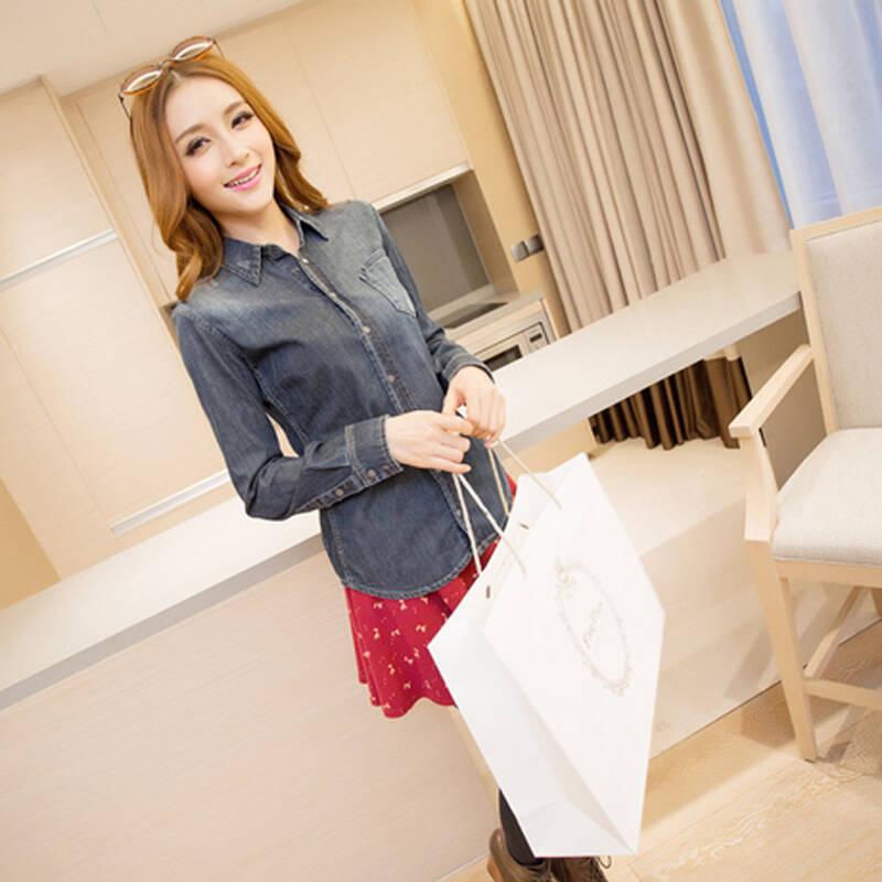 紫泽2014春夏女装新款 牛仔洗水衬衣牛仔衣女 xs5308图片