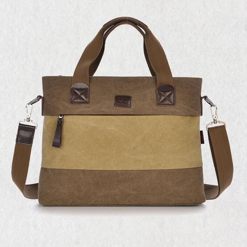 村树2014新款时尚帆布包 横版男款 商务休闲 手提包 单肩包 斜挎包