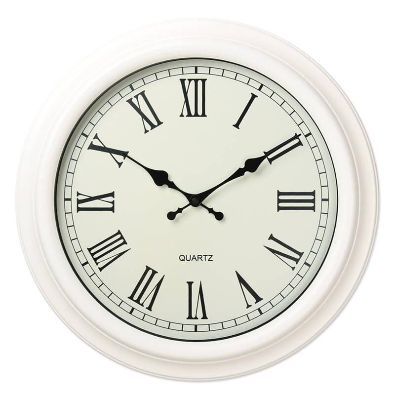汉时(hense) 钟表 欧式罗马数字挂钟 创意客厅石英钟16寸 hw05 白色