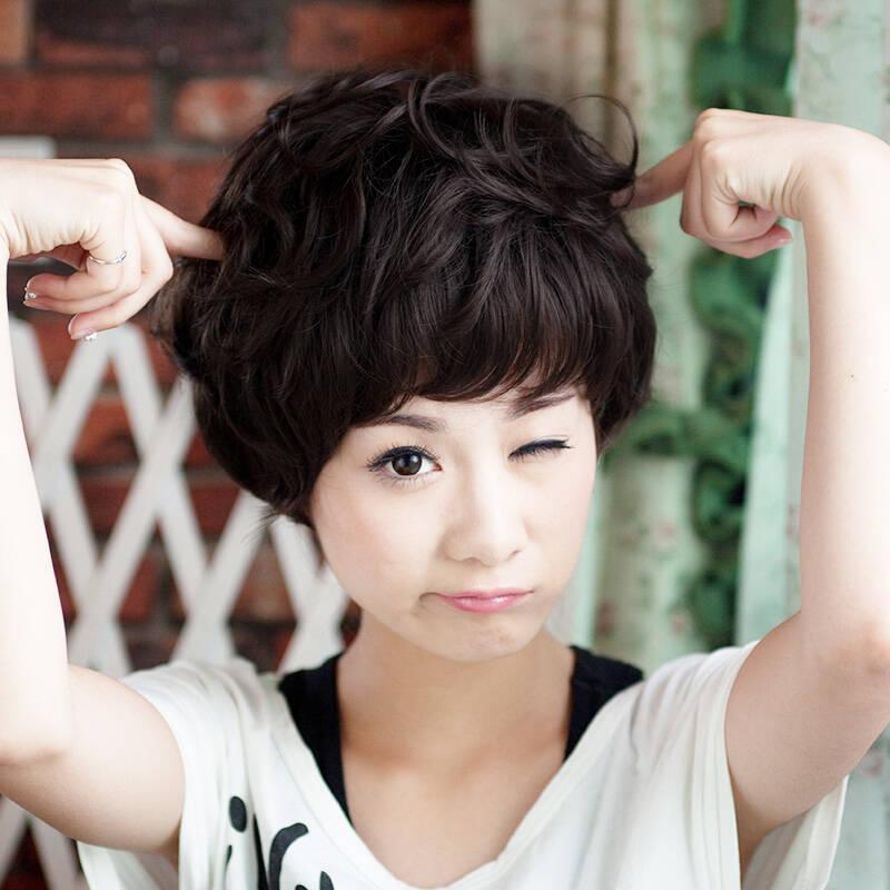 新款 美元素假发 哑光丝短发 新款 萌女 蓬松发型jiafasc033图片