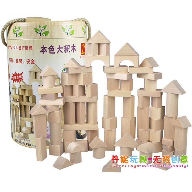 丹妮奇特 彩色益智木制积木玩具 80粒原木城堡积木cdn