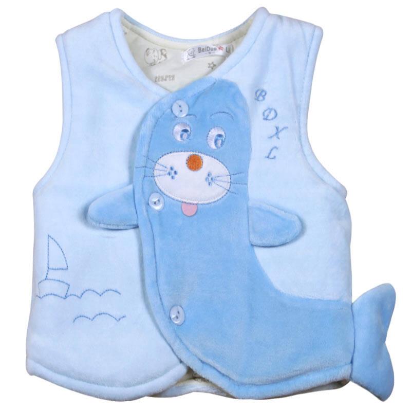 叶子宝宝 绒面夹棉加厚儿童背心/动物造型马夹(1-2岁)