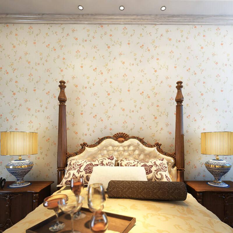 德瑞de壁纸 甜美青春田园小花pvc材质墙纸 珍珠白底67072 规格5.