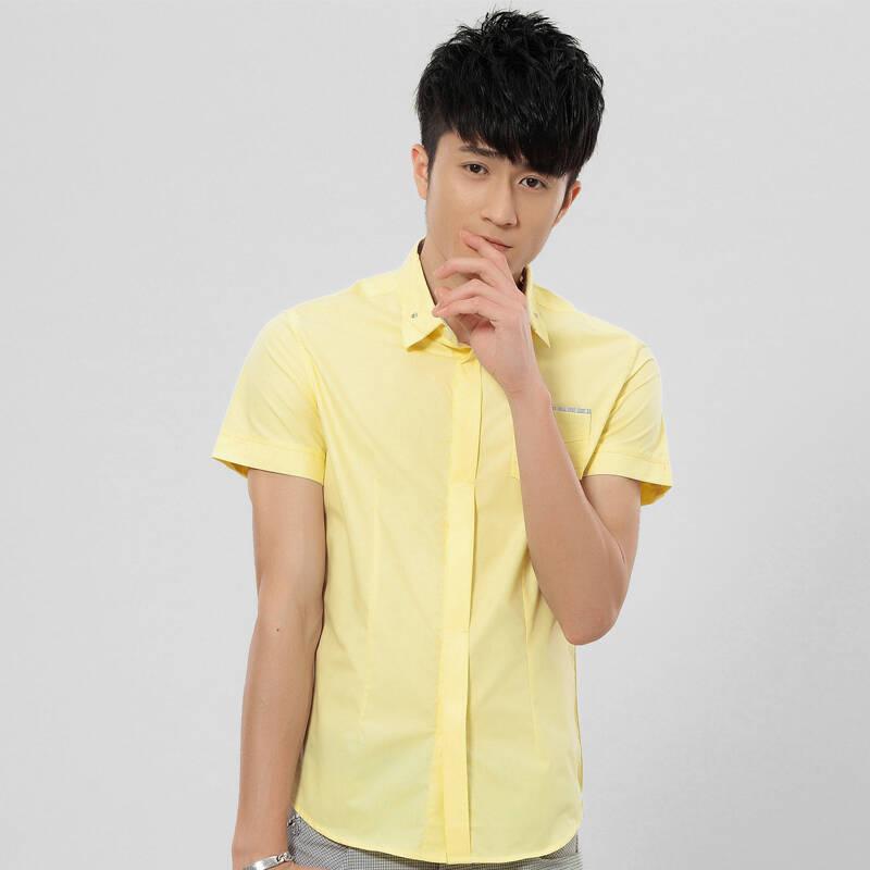 普通�yo�y��_淳正 特惠商品限时打折普通浅黄色秋季适用衬衫成人开衫合体型男式