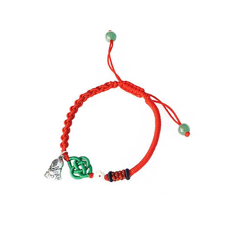 本命年纯银灵蛇猪惊骨中国结精编红绳手链 有12十二生肖转运护身 牛