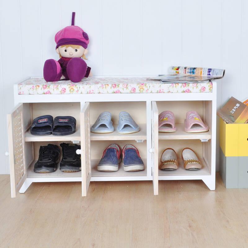 竹编鞋柜换鞋凳多功能