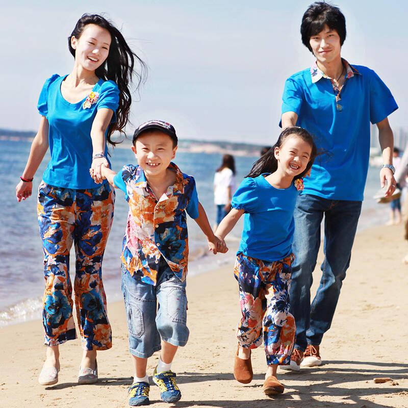 依素芳典 原创设计一家三口夏季亲子装四口棉麻diy t恤 海蓝色 花色