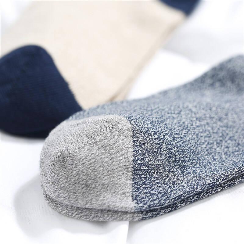 京造 個性男士中筒襪 撞色設計 有機棉棉襪 無骨縫頭 休閑男襪襪子 男士 3雙
