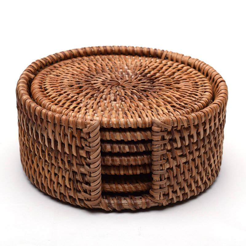 笨鸟先飞 纯手工编织杯垫 藤编茶杯垫铁壶垫 水杯垫养壶垫 隔热垫茶道