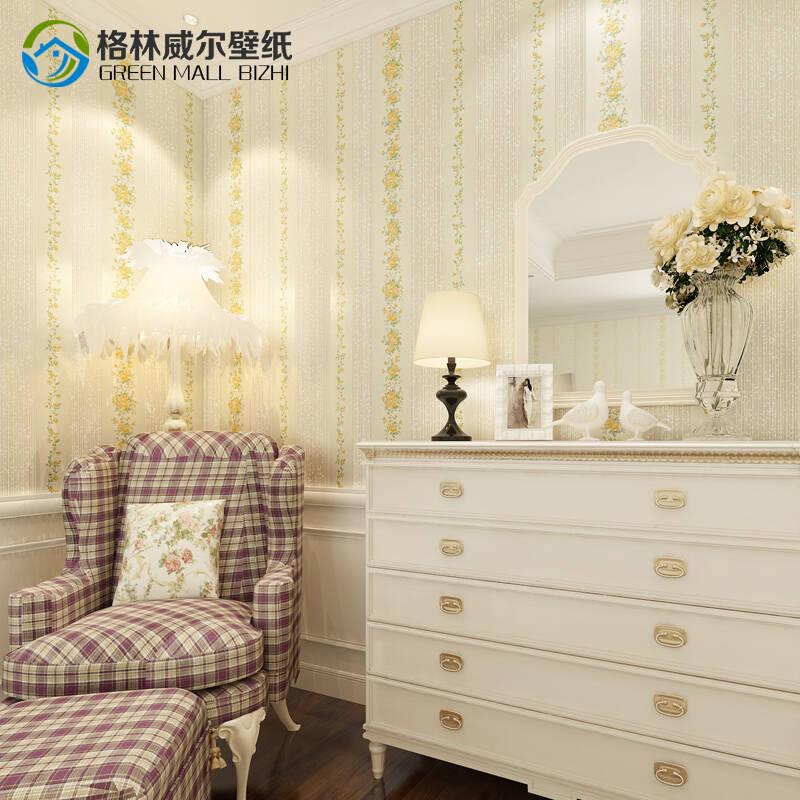 格林威尔 温馨卧室田园环保墙纸 法式清香浪漫壁纸 客厅电视背景墙 米