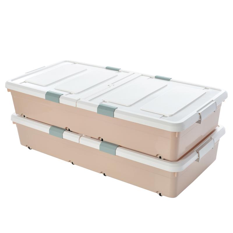 BELO 百露 塑料有盖大号床底收纳箱 大号2个装(93.5*47*18cm)