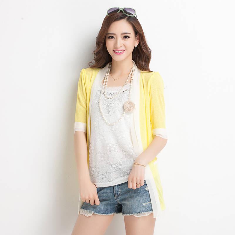 依之皇 2014夏季新款女装中长款短袖针织衫开衫超薄防