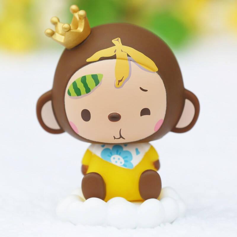 皇冠猴 汽车摆件车用摇头公仔娃娃 可爱单个装 momo水果款升级版 自营