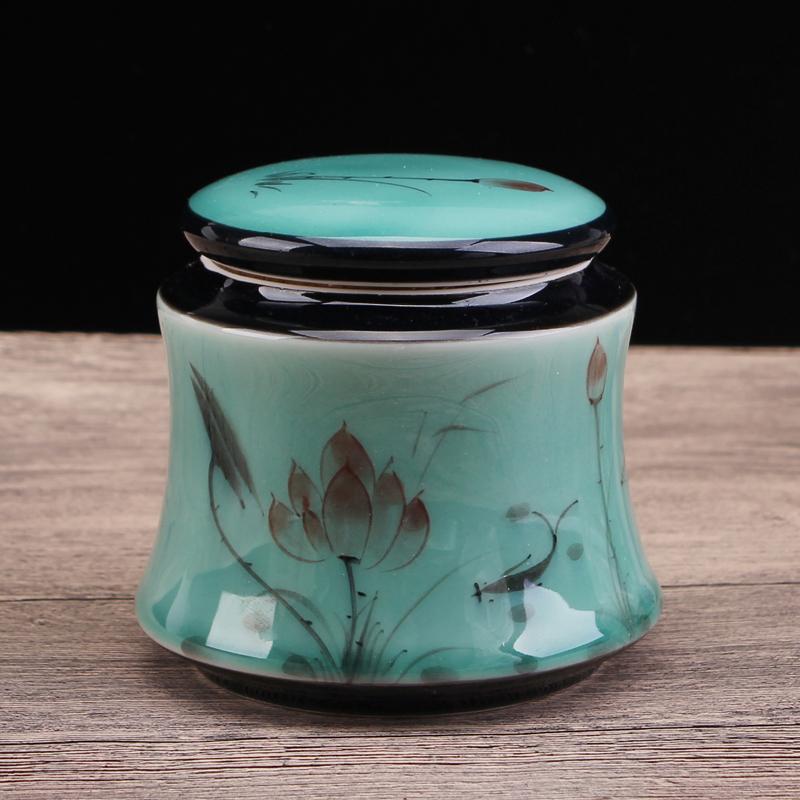 幸福源 龙泉青瓷手绘陶瓷茶叶罐 红绿茶铁观音密封罐 存储罐 款式2