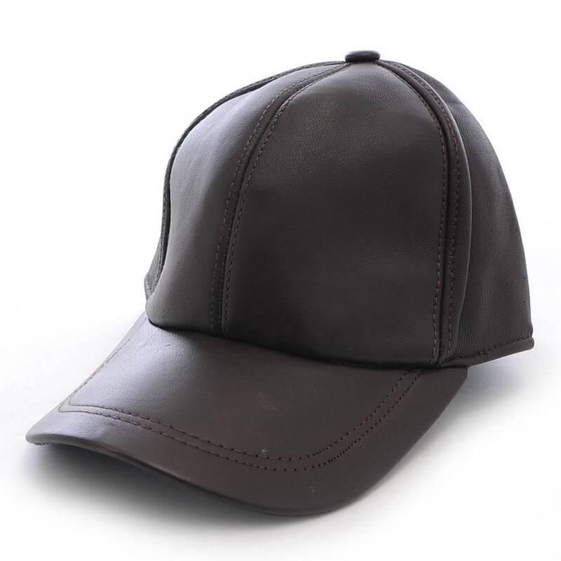 依吉饰 春季男士真皮保暖羊皮帽子 老年人户外棒球帽鸭舌帽 春天帽子