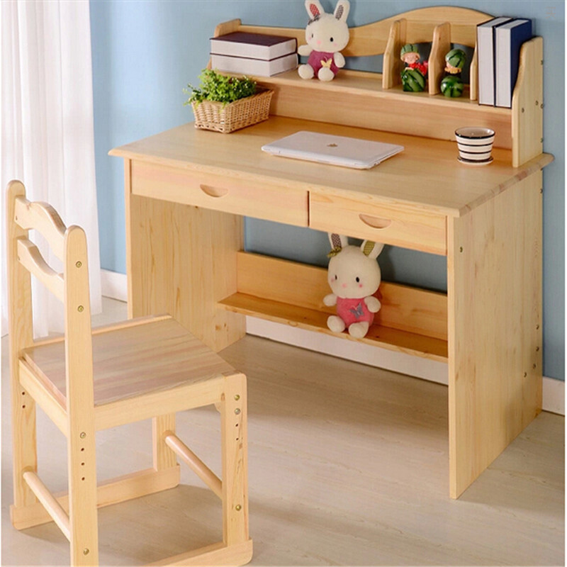 多美居儿童实木书桌学习桌椅套装写字台松木学生书桌课桌电脑桌椅可
