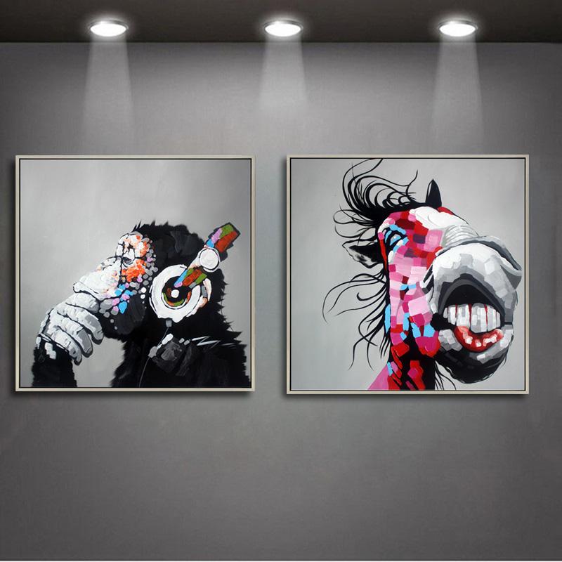 现代简约装饰画卡通动物手绘抽象画客厅沙发墙画 电表