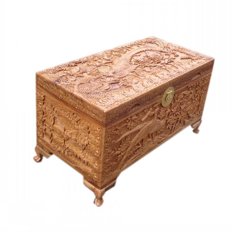 樟木箱樟木家具香樟木箱香樟木家具画盒画箱衣箱明清家具衣柜精雕百鸟