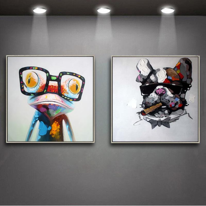 现代简约装饰画卡通动物手绘抽象画客厅沙发墙画 电表箱玄关挂画手绘