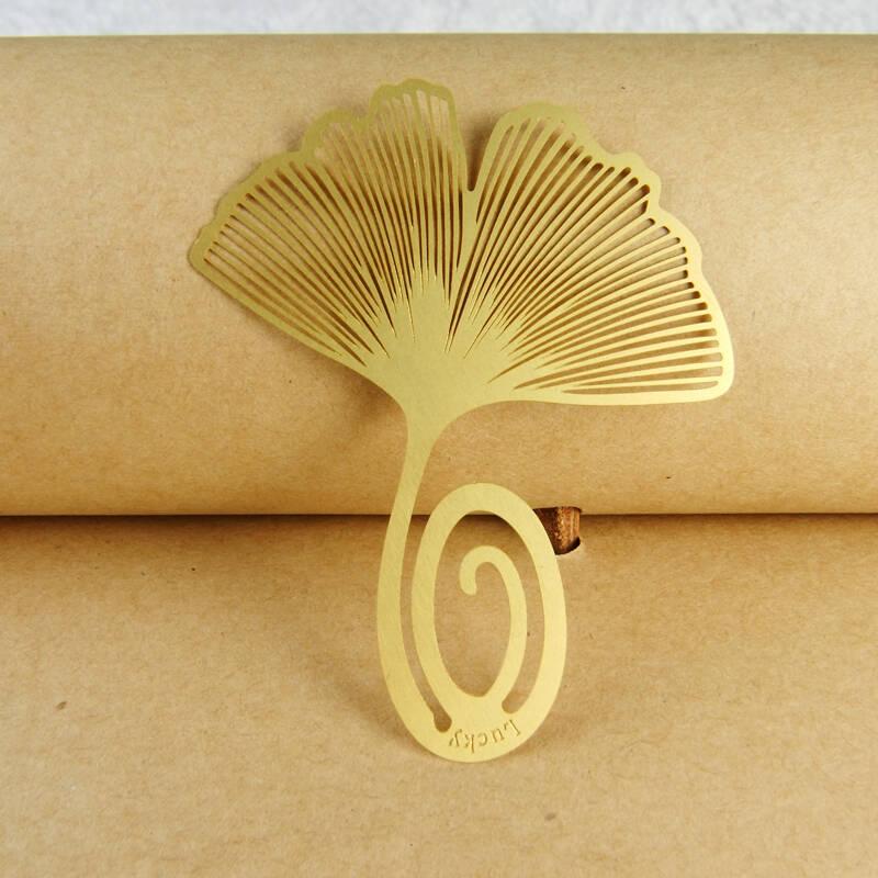 银月行货正品个性创意复古可爱古典金属铜书签银杏叶图片