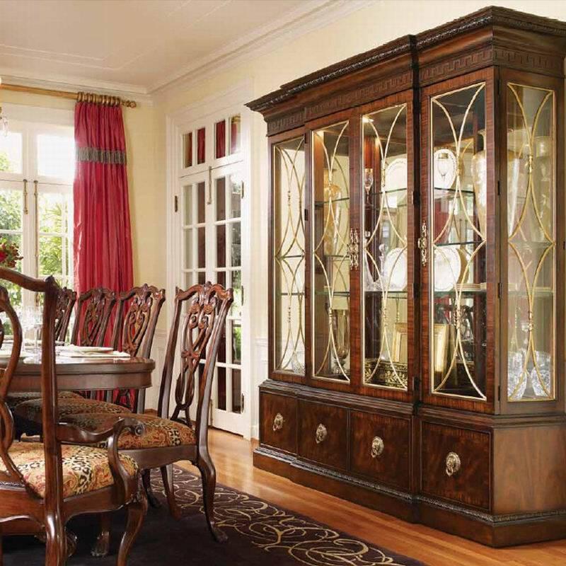 餐厅玻璃展示柜 实木四门酒柜 改尺寸
