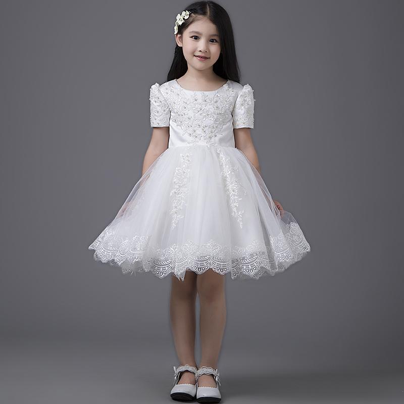 添红妆儿童礼服裙女童公主裙女童公主裙花童礼服连衣裙钢琴演出服亲子