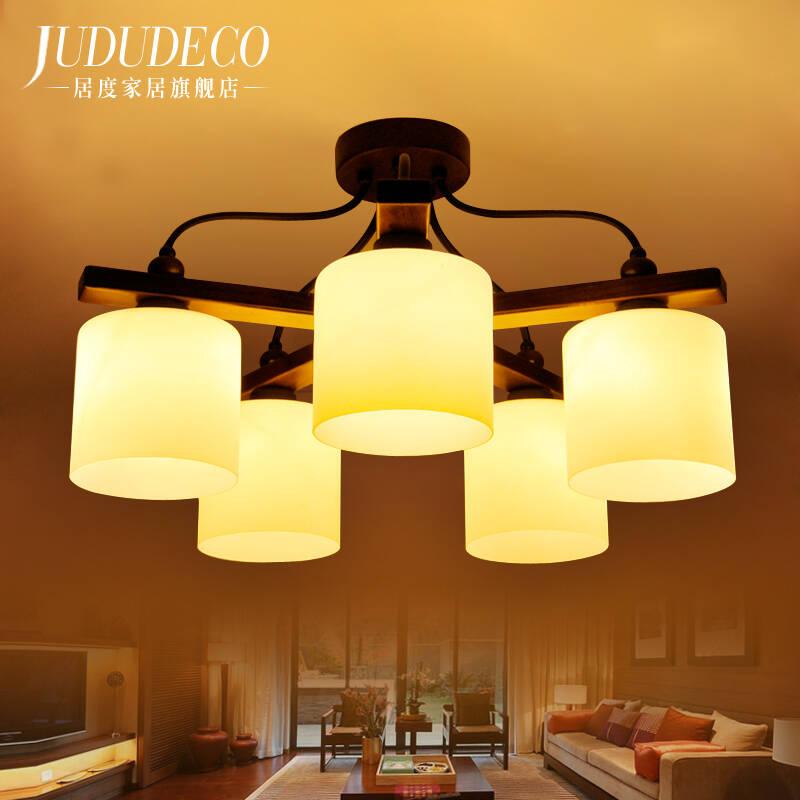 客厅led吸顶灯中式实木灯具美式地中海客厅灯大灯大气