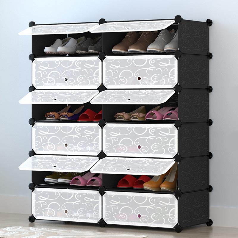 【京东超市】心家宜 组合简易鞋柜 鞋架防尘家居 塑料组装鞋子收纳柜2