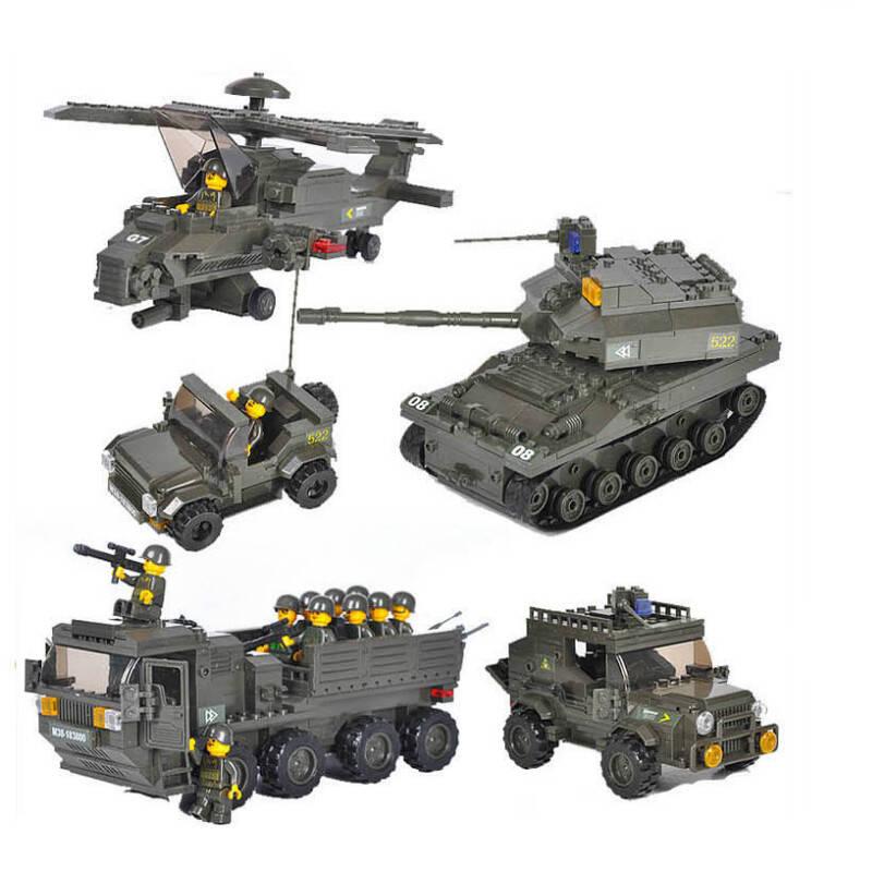 正品小鲁班启蒙积木 军事拼装玩具 飞机/坦克汽车陆军