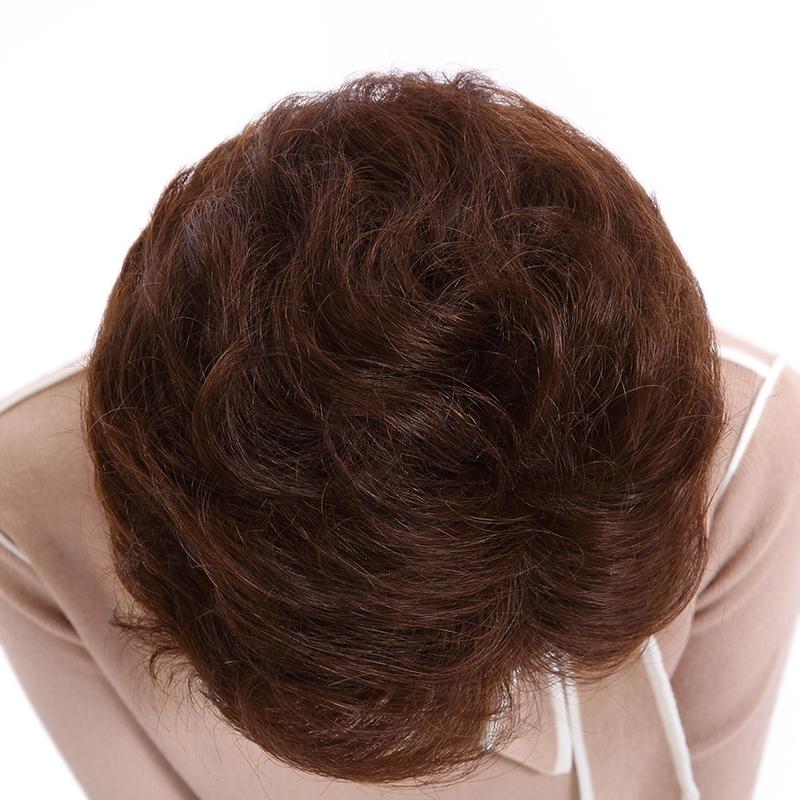 真发假发套女 假发短卷发 假发头发女短发 深棕色大码(全真发 无菌网图片
