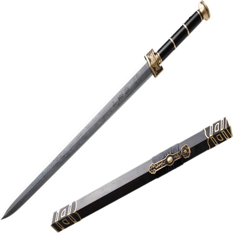 礼之诚龙泉百炼花纹刚如意剑黑檀木全铜装具上品宝剑中国特色商品镇宅