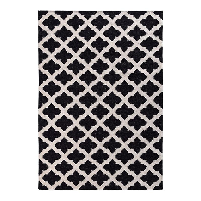 富居 羊毛简约黑白花纹印度进口地毯 羊毛平纹编织 160*230cm