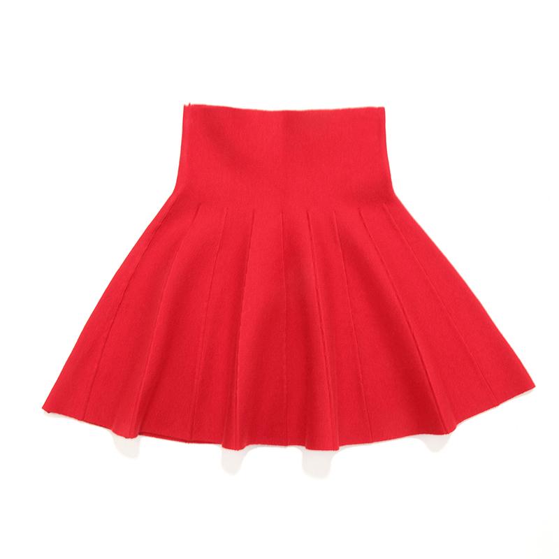 萌妆 女童毛衣短裙儿童针织羊毛衫裙百褶裙中大童春秋新款裙子 红色百