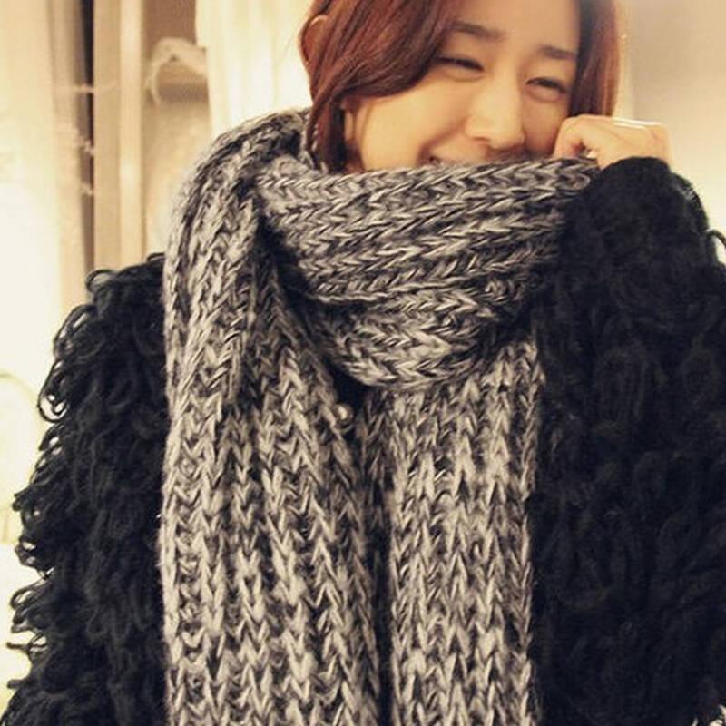 2014 秋冬新款 撞色镂空毛线围巾 披肩 超长 加厚围巾