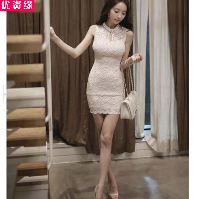 优资缘2015春夏季新品女装欧美性感夜店蕾丝订珠气质修身显瘦包臀紧身