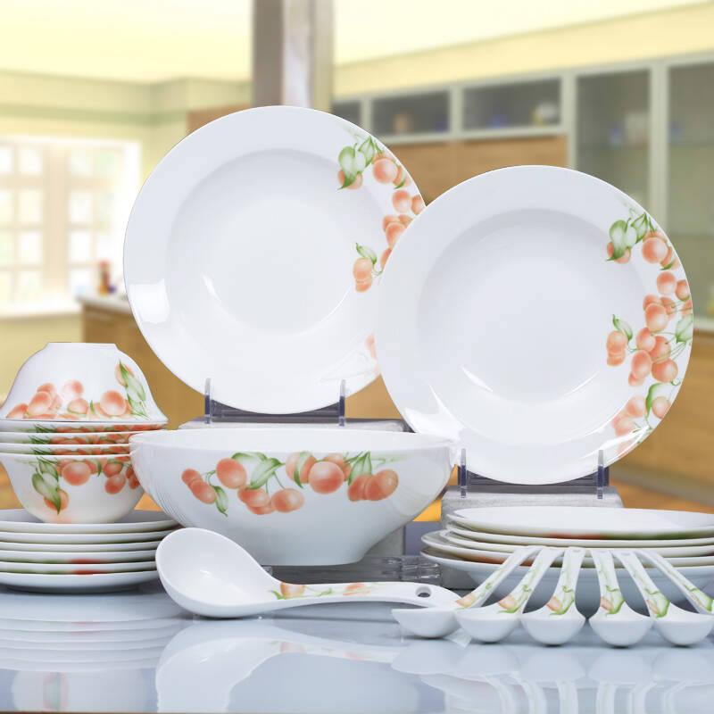 华光陶瓷 金玉满堂骨质瓷餐具套装 釉中彩 28头礼盒装图片