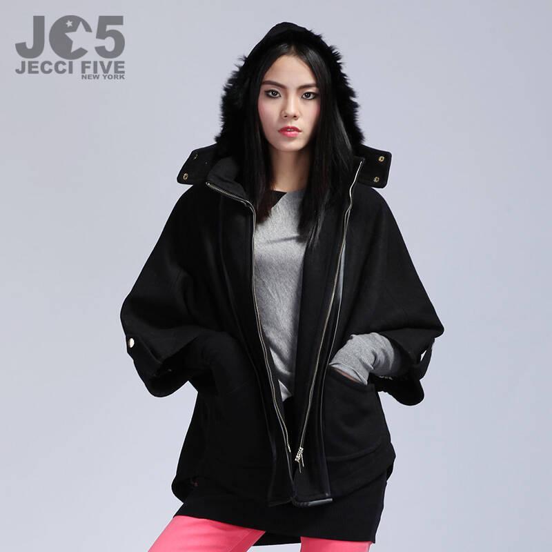 jc5杰西伍 2014冬新款连帽毛呢外套 羊毛宽松蝙蝠袖女装保暖开衫