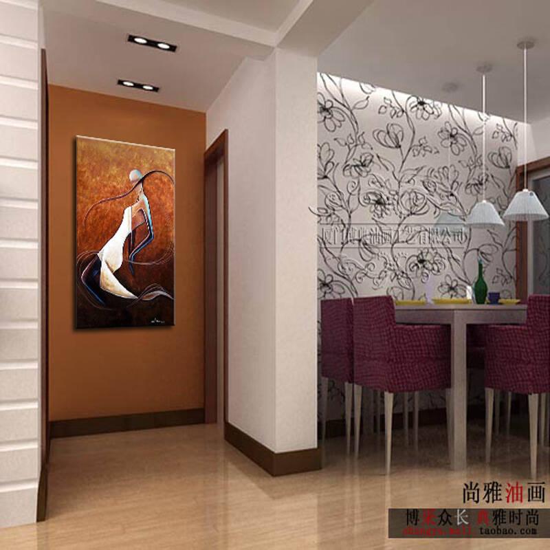 油画手绘餐厅玄关走廊过道无框画装饰画挂画墙画抽象人物艺术竖版 50