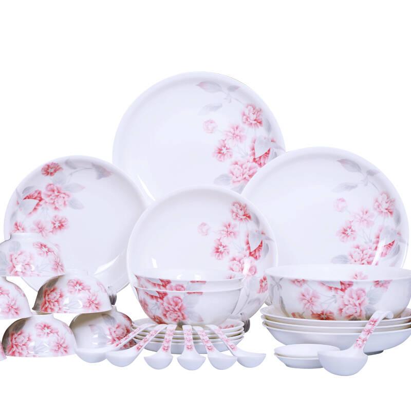 华光陶瓷 釉中彩骨瓷餐具套装浪漫晨曦餐具 30头礼盒装图片