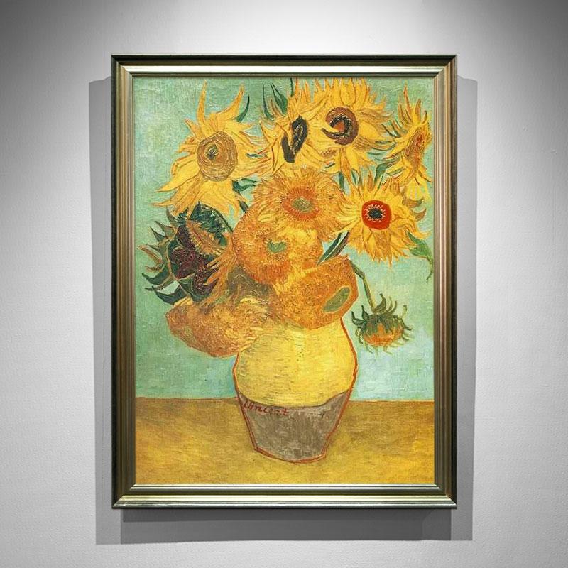 卓林 名画梵高向日葵手绘油画欧式客厅装饰画三联沙发背景壁画餐厅挂