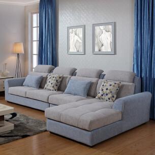左右布艺沙发 现代客厅贵妃 组合沙发大户型 可拆冼布沙发dzy2618 淡