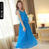 蓝色雪纺长裙