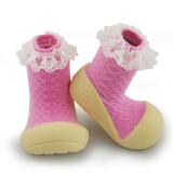 儿童地板鞋宝宝冬季学步鞋宝宝连袜地板鞋婴儿学步鞋冬 粉色蕾丝 实