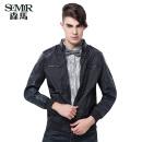 【森马】 semir 秋款男装外套立领净色夹克 时尚百搭 黑色 m图片