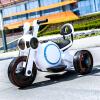 孩子王科技儿童电动车三轮可坐摩托车宝宝电动汽车高品质加长款多功能 太空白